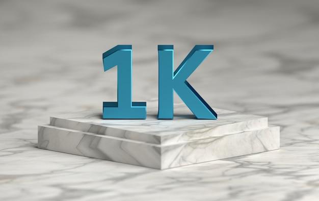 El número de redes sociales 1k le gusta seguidores en el podio
