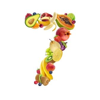 Número siete de diferentes frutas y bayas.