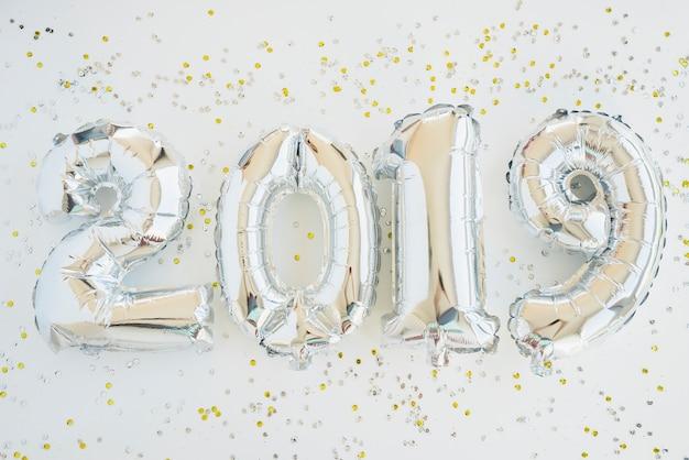Números de globos de año nuevo festivo