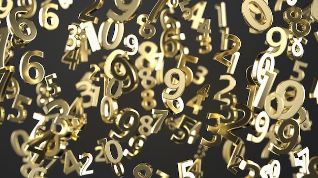 Números de metal de oro