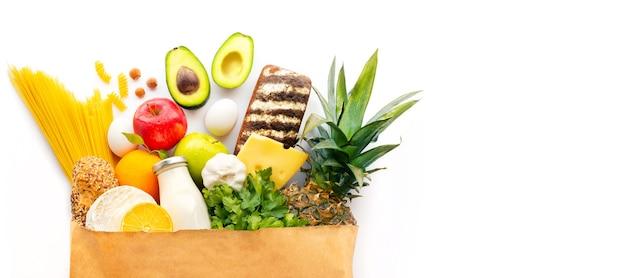 Nutrición adecuada alimentación saludable comida sana bolsa de papel fondo de comida sana comida de supermercado