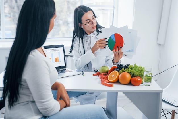 Nutricionista mujer con gráfico da consulta al paciente en el interior de la oficina.