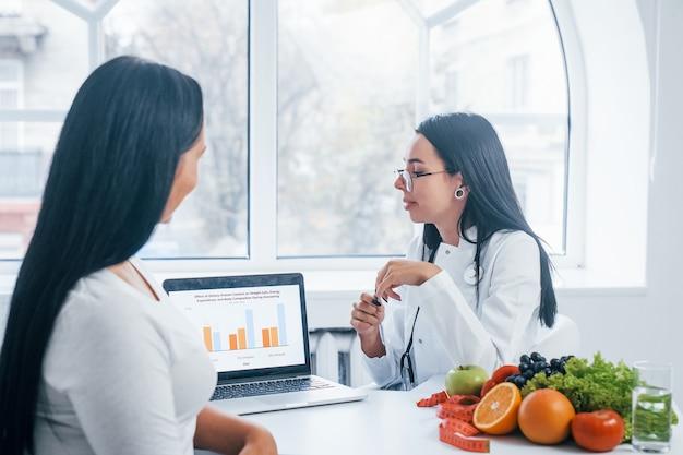Nutricionista mujer con portátil da consulta al paciente en el interior de la oficina.