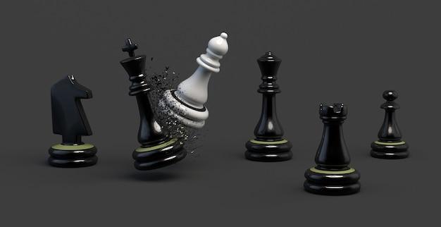 Obispo haciendo jaque mate al rey. ajedrez. ganar. ilustración 3d. bandera.