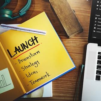 Objetivos de negocio de lanzamiento de marca concepto de éxito corporativo