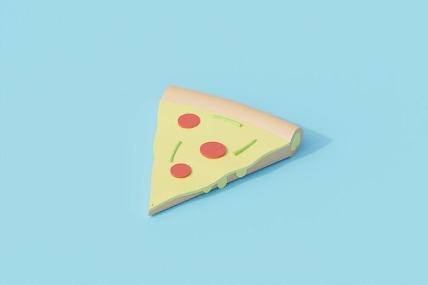 Objeto aislado único de pizza en rodajas. representación 3d