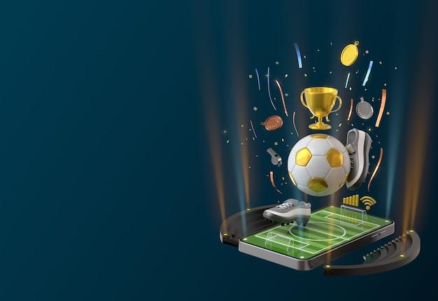 Objeto de fútbol con smartphone