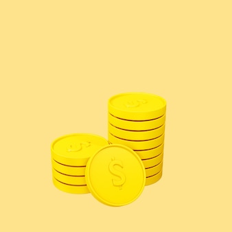 Objeto de monedas 3d rindió la ilustración aislada