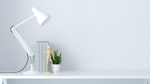 Objetos de casa y oficina escenario en blanco fondo 3d render