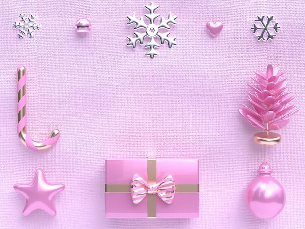 Objetos de decoración de escena plana rosa concepto de navidad representación 3d
