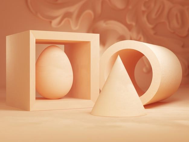 Objetos geométricos sobre un fondo rosa, ilustración 3d
