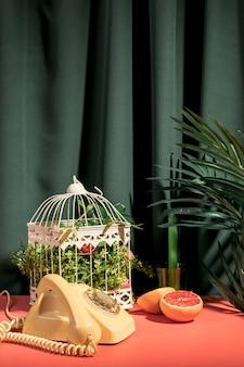 Objetos de naturaleza muerta en mesa