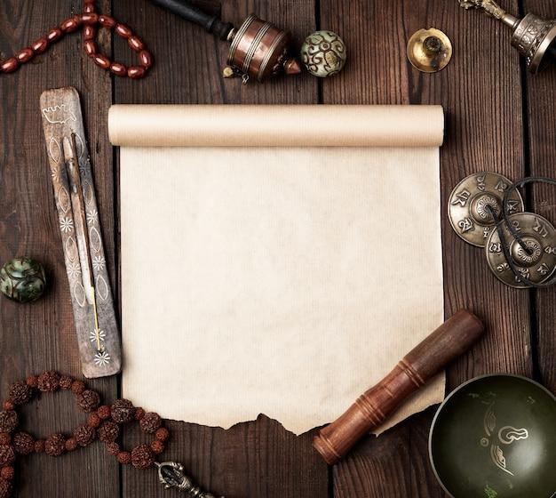 Objetos religiosos tibetanos para la meditación y la medicina alternativa.