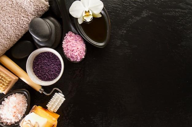 Objetos de spa con copy space