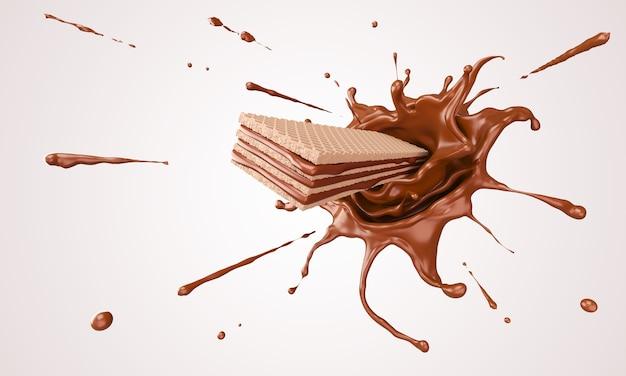 Oblea crujiente con salpicaduras de chocolate
