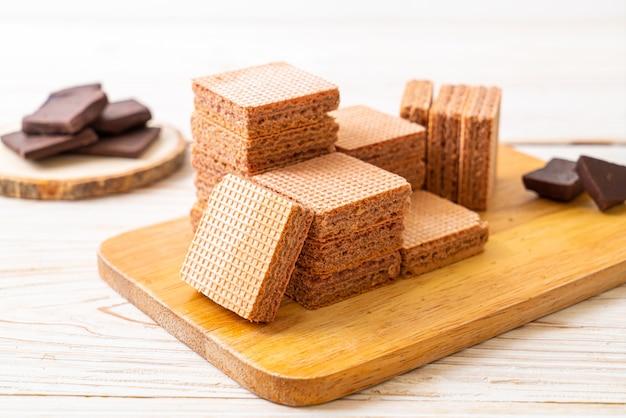 Obleas de chocolate con crema de chocolate