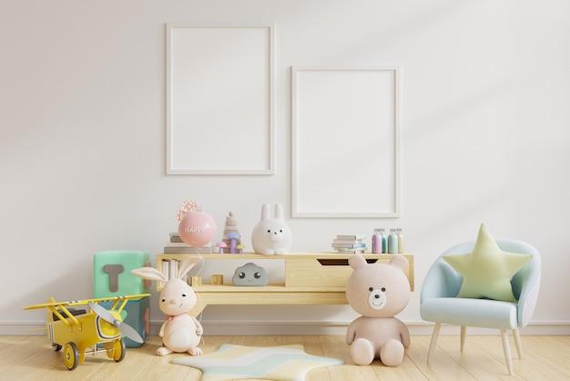 Obras de arte enmarcadas en blanco en la habitación de los niños, la habitación de los niños, la guardería, la representación 3d