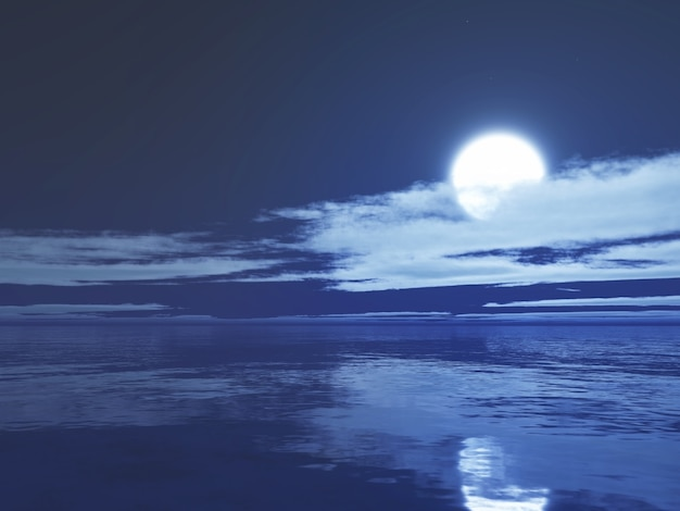Océano iluminado por la luna en 3d