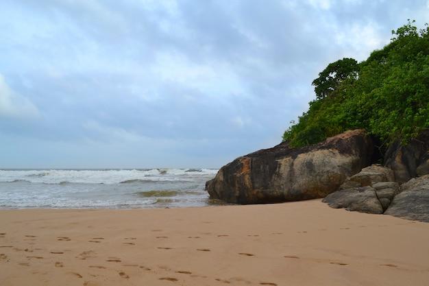 Océano índico con arena dorada, bentota, sri lanka. un maravilloso paisaje natural de una escena de playa.