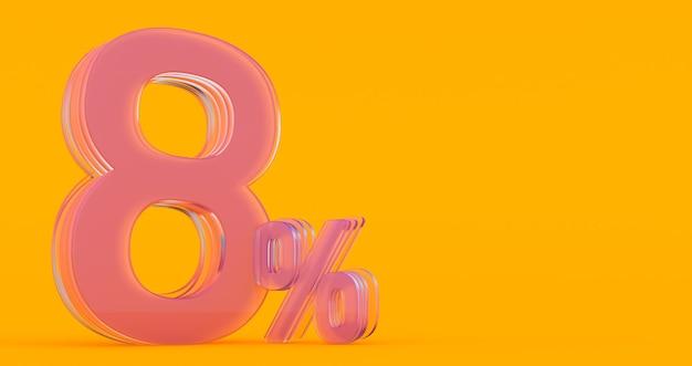 Ocho (8) por ciento en vidrio, número de vidrio 3d sobre fondo de banner de color, render 3d