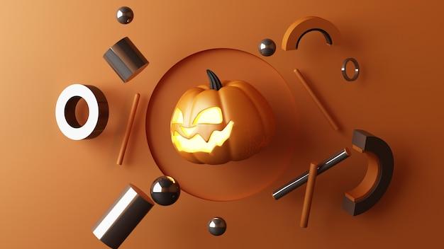 Octubre cabeza de calabazas de halloween creciendo con forma geométrica con soporte de producto simulado para el presente sobre fondo de color naranja representación 3d