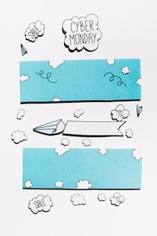 Oferta cyber monday en nube de papel con aviones y cielo azul