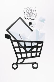 Oferta cyber monday en la nube y dispositivos con carrito de compras