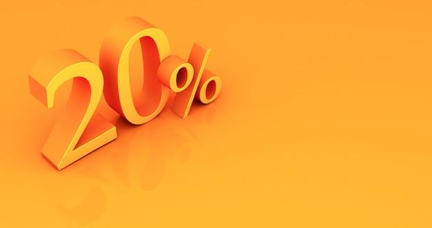 Oferta especial etiqueta de 20% de descuento, venta de hasta 20 por ciento de descuento, veinte por ciento amarillo sobre un fondo de color. render 3d