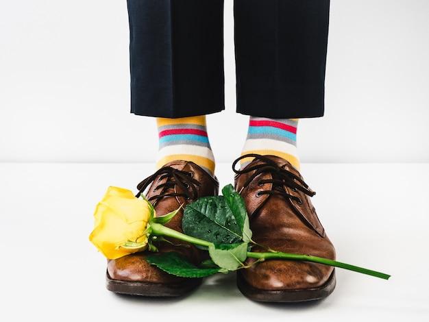 Office manager en zapatos elegantes y calcetines brillantes.