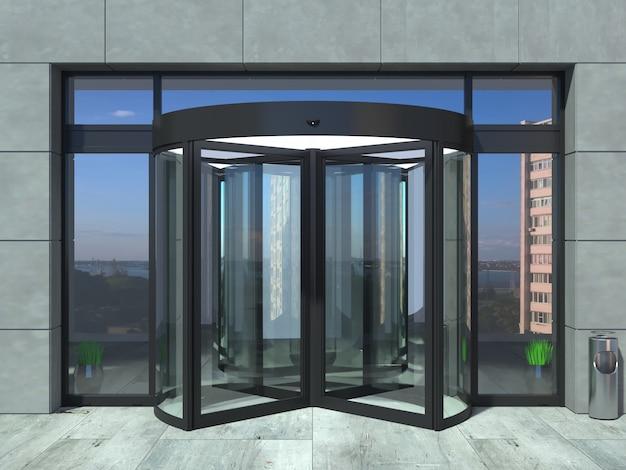 Oficina automática de puertas giratorias negras