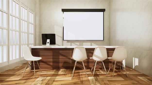Oficina de escena escritorio de pie en la oficina. representación 3d