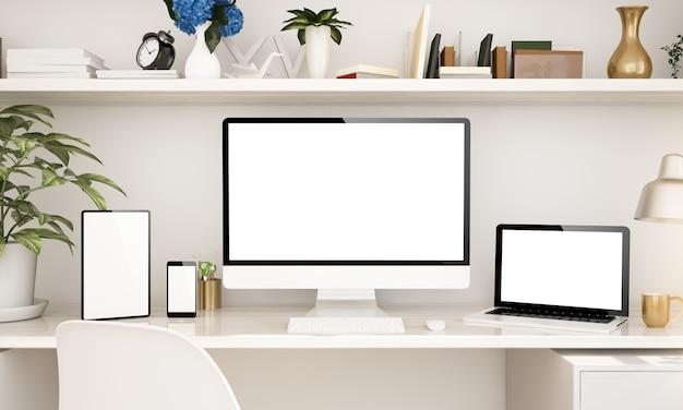 Oficina en el hogar con dispositivos receptivos