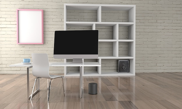 Oficina con mesa con computadora de escritorio. representación 3d .3d ilustración