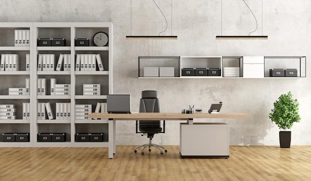 Oficina moderna en blanco y negro