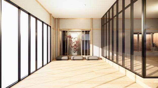 Oficina de negocios - hermosa sala de reuniones y mesa de conferencias en japón, estilo moderno. renderizado 3d