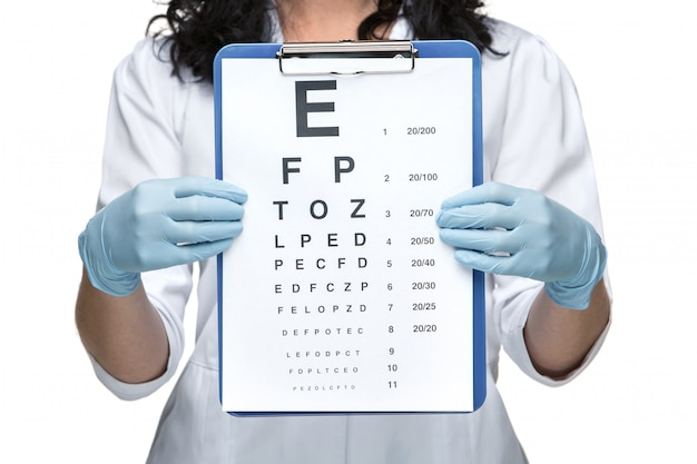 Oftalmólogo masculino con tabla optométrica