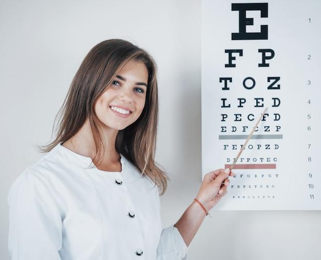 Oftalmólogo de sexo femenino joven con el palillo que muestra la tabla optométrica.