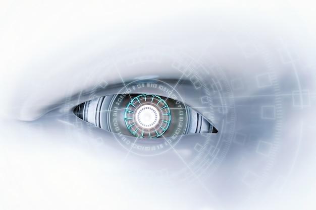 Ojo de cyborg de renderizado 3d con pantalla virtual