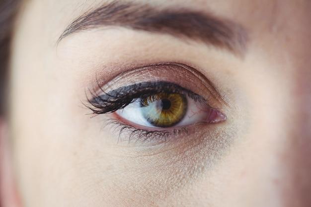 Ojo con delineador de ojos y sombra de ojos