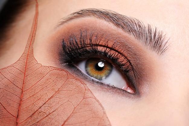 Ojo femenino con maquillaje marrón brillante y hoja en la cara