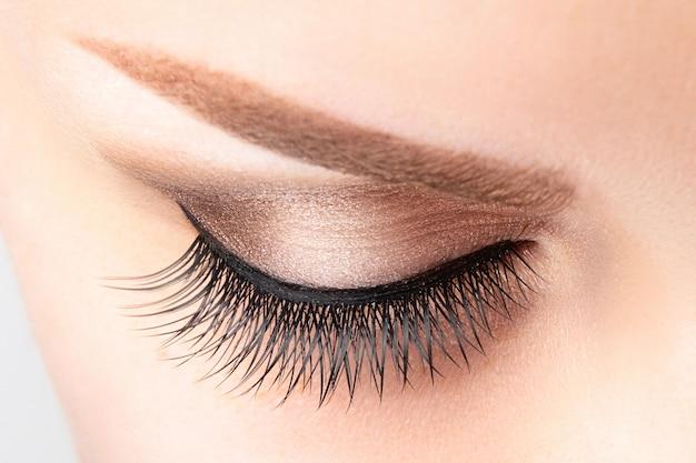 Ojo femenino con pestañas largas y falsas, hermoso maquillaje y primer plano de ceja marrón claro