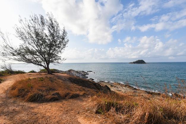 Olas del mar con un árbol y un fantástico paisaje de costa rocosa