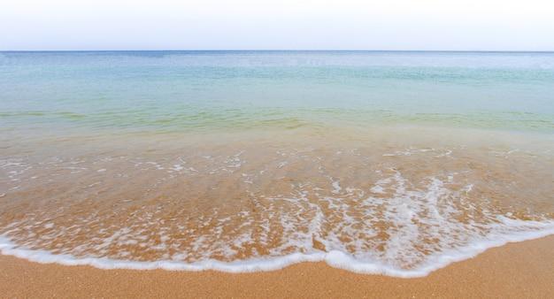 Olas oceánicas y playa con arena