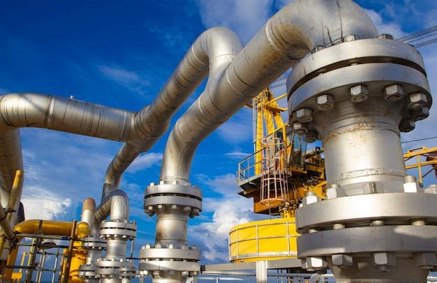 Oleoducto de producción de petróleo y gas costa afuera de la industria.