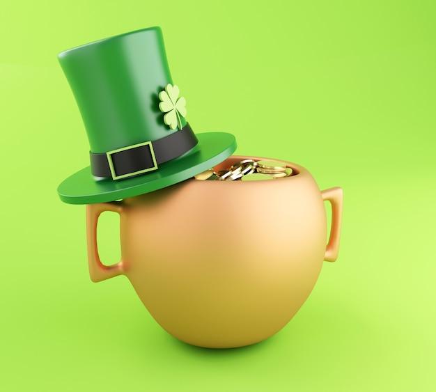 Olla 3d de monedas de oro y sombrero. día de san patricio.
