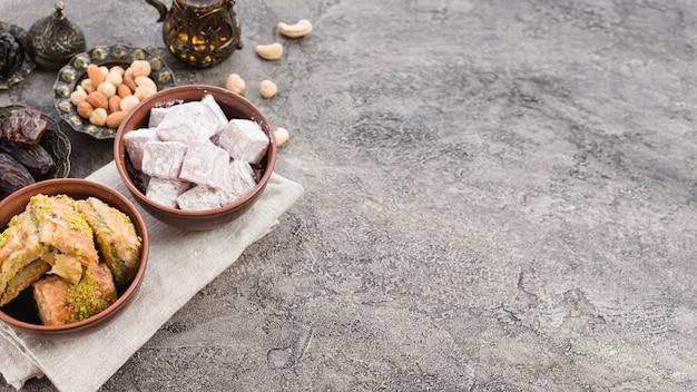 Olla de barro y cuenco metálico de lukum; baklava; fechas y frutos secos sobre fondo de hormigón.