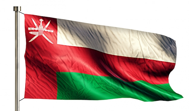 Oman bandera nacional aislado 3d fondo blanco