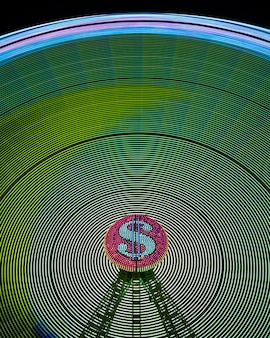 Ondas de luz de neón abstractas de rueda de maravilla y signo de dólar