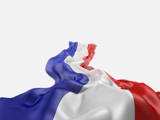 Ondeando la bandera de francia representación 3d