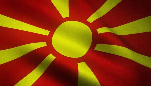 Ondeando la bandera de macedonia